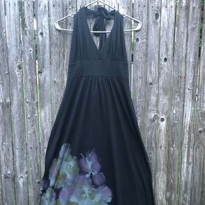 Dresses & Skirts - Black halter maxi with floral accent